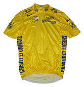 A yellow jersey with writing on it