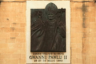 Religion in Malta - Plaque in Valletta commemorating Pope John Paul II's visit in 1990