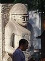 Man with Cossack Sculpture in Plaza - Zaporozhye - Ukraine (30225777768).jpg