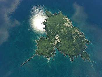 Mandelbrot fractal. Rendered as an island with...