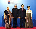 Manmohan Singh and his wife Smt. Gursharan Kaur with the President of South Korea, Mr. Lee Myung-bak and Mrs. Kim Yun'ok, at the welcome reception of G-20 Summit, at National Museum, in Seoul, South Korea.jpg