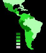 Πληθυσμοί με αμιγώς ινδιάνικες ρίζες στη Λατινική Αμερική.(Source: World Fact book 1999)