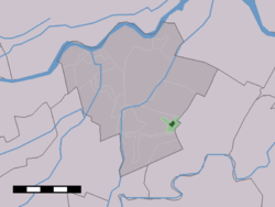 The village centre (dark green) and the statistical district (light green) of Leerbroek in the municipality of Zederik.