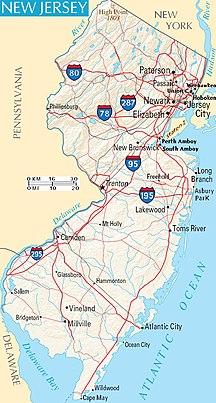 New Jersey-Economia e trasporti-Map New Jersey NA