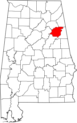 map of Alabama highlighting Calhoun County
