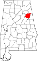 Map of Alabama highlighting Calhoun County.svg