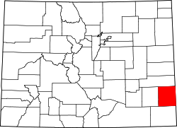 map of Colorado highlighting Prowers County