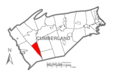 Map of Cumberland County, Pennsylvania highlighting South Newton Township