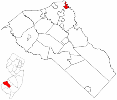 Westville highlighted in Gloucester County. Inset map: Gloucester County highlighted in the State of New Jersey.
