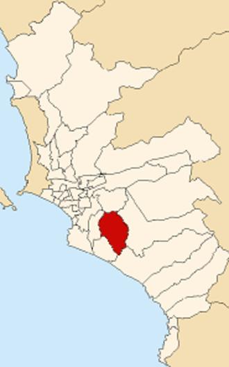 Villa María del Triunfo - Image: Map of Lima highlighting Villa María del Triunfo