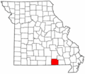 Map of Missouri highlighting Oregon County.png