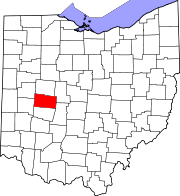 Map of Ohio highlighting Champaign County