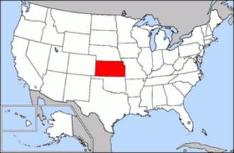 Kansas State High School Activities Association - Image: Map of USA highlighting Kansas
