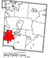 Map of Warren County Ohio Highlighting Mason City.png