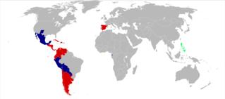 Mappa che mostra l'utilizzo della lingua spagnola