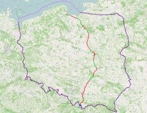 National road 7 (Poland) - Image: Mapa DK7