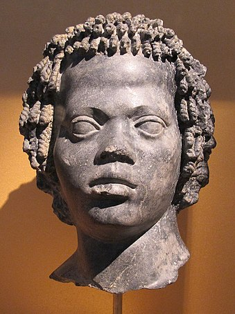 Marble portrait of a Nubian ca. 120-100 BCE Marble head of Nubian denizen.jpg