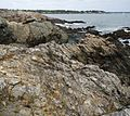 Marblehead Massachusetts view from peninsula of rocks and harbor entrance with sailboat.JPG