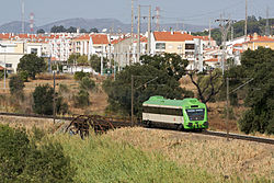 Diesel unit of the Beira Baixa rail line at Entroncamento