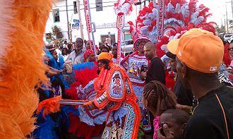 Mardi Gras Indians - Uptown Mardi Gras Indians Encounter on Mardi Gras Day