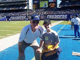 Marty Schottenheimer - Schottenheimer with a Chargers fan during his tenure as San Diego's coach.