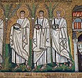 Martyrs Prot, Jovinius, Sabin. Part of the mosaic on the right wall of the Basilica of Sant'Apollinare-Nuovo. Ravenna, Italy.jpg