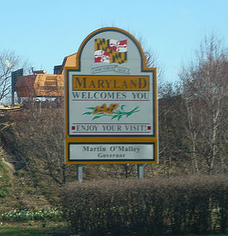 Maryland state welcome sign along I-81 entering from West Virginia