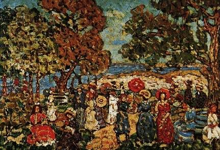 Maurice B. Prendergast, Landscape With Figures, 1913