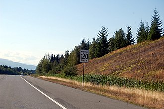 British Columbia Highway 19 - In 2014 the speed limit on the Inland Island Highway stretch of Highway 19 was raised to 120 km/h north of Parksville; this was the highest signed speed limit in Canada.  In November 2018 the provincial government reduced the speed limit on this section back to 110km/hr after a safety review.