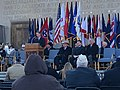 Mayor Joe Hogsett speaking before 2018 Indianapolis Veterans Day Parade.jpg