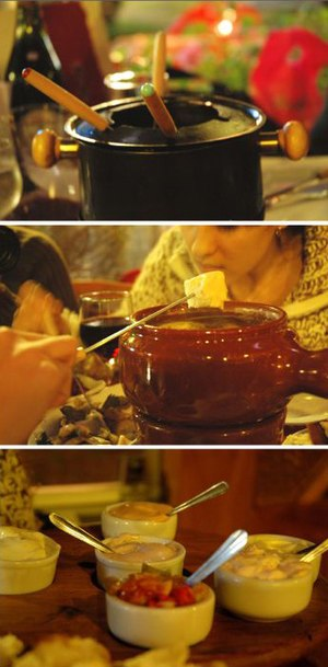 A sequence of images of a fondue bourguignonne.