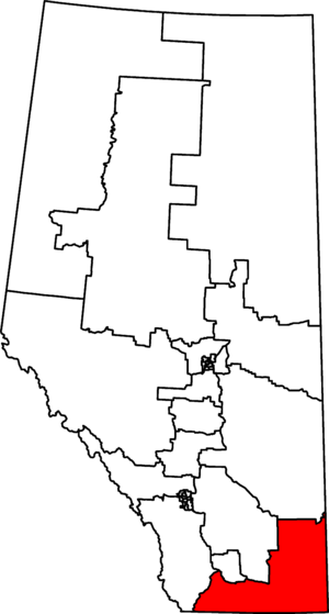 Medicine Hat—Cardston—Warner - Medicine Hat—Cardston—Warner in relation to other Alberta federal electoral districts as of the 2013 Representation Order.