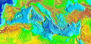 Δορυφορική εικόνα της βυθομετρικής μορφολογίας της Μεσογείου