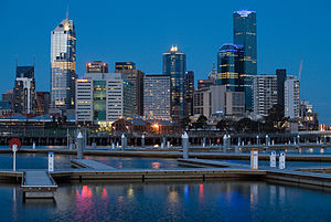 Melbourne's CBD in 2005 from Docklands at twil...