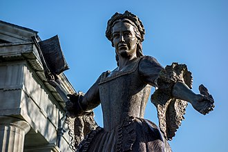 Mercy Otis Warren - Bronze sculpture of Mercy Otis Warren stands in front of the Barnstable County Courthouse