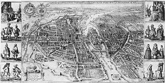 Merian map of Paris - The plan of Merian as originally published