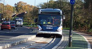 A Fastway bus in the guided bus lane on Southg...