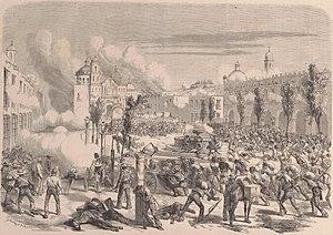 Battle of Tacámbaro - Image: Mexique. — Défense héroïque du bataillon belgue commandé par le major Tydgadt dans Tacamburo, le 11 avril 1865. (D'après le croquis de M. A. Martin)