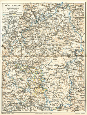 Kingdom of Württemberg - Map of the Kingdom of Württemberg and Province of Hohenzollern in 1888