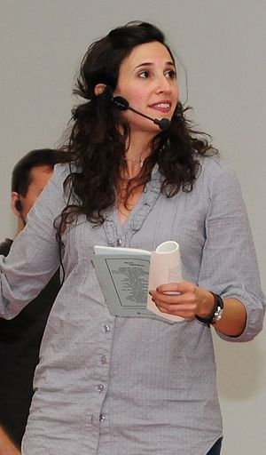 "Michaela Watkins - Watkins performing at the ""Improv in Iraq Tour"" in 2010"