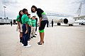 Michelle Obama greets students from the East Durham Children's Initiative upon arrival at Raleigh-Durham Airport in Morrisville, N.C., Sept. 19, 2012.jpg