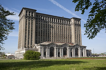 The historic, once abandoned Michigan Central Station was purchased by Ford Motor Company in May 2018 and is expected to undergo a significant four year renovation Michigan Central Train Station Exterior 2010.jpg