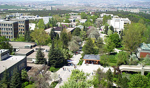 Part of the METU campus, as seen from its MM Building