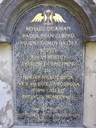 Metelko alphabet - Image: Mihael Dezman tombstone
