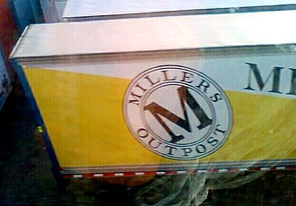 Anchor Blue Clothing Company - A former Miller's Outpost semi-trailer bearing the company's 1990's-era logo.
