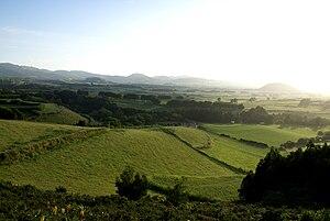 Ribeira Grande, Azores - Vista of the interior of Ribeira Grande looking southeast towards the Água de Pau mountain range