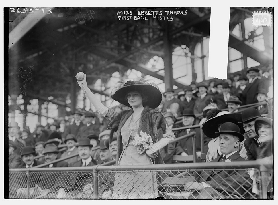 Miss Genevieve Ebbets, youngest daughter of Charley Ebbets, throws first ball at opening of Ebbets Field (baseball) LCCN2014692697