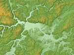 Miyoshi Basin Relief Map, SRTM-1.jpg