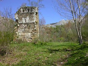 Gonzalo Rodríguez Girón - Ruins of the Monastery of San Román de Entrepeñas. The fortified tower, sole vestige of its former splendor, can be seen in the image.
