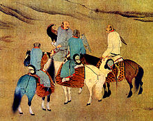 Khitan hunters on horseback with one rider holding an eagle